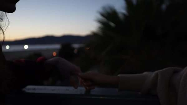 Handheld shot of a playful couple touching hands and kissing outdoors Royalty-free stock video