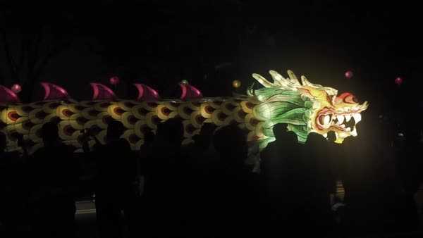 A dragon parade in South Korea during a festival Royalty-free stock video