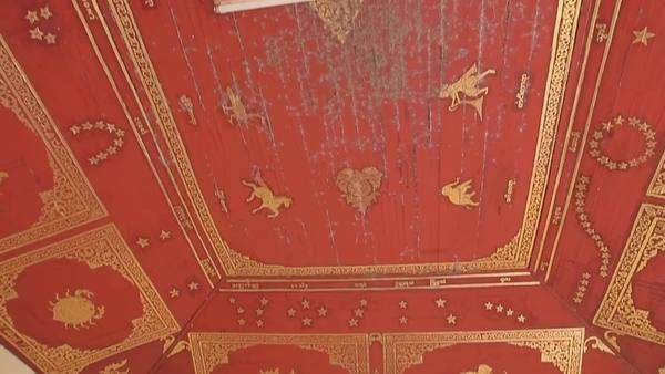 Ceiling murals featuring Burmese horoscope in The Shwezigon Pagoda complex  from 11 century in Bagan, Myanmar  stock footage