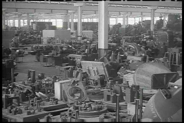 1940s era film showing the first assembly line plants in America dedicated  to making tanks for WWII  stock footage