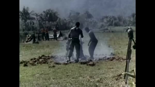 1966 - Men of the 101st Airborne Division fire mortar rounds in Tuy Hoa as  part of Operation Harrison