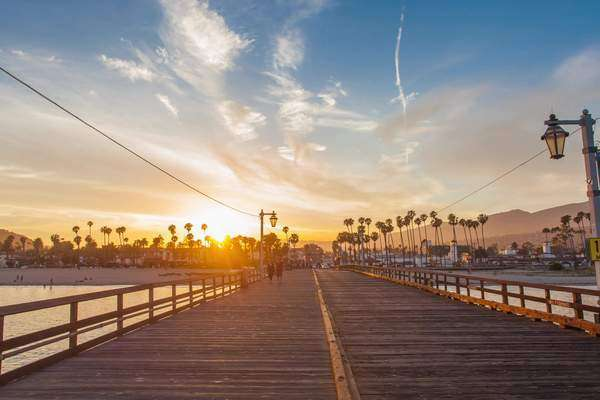Hyperlapse of a pier in Santa barbara, California, USA Rights-managed stock video