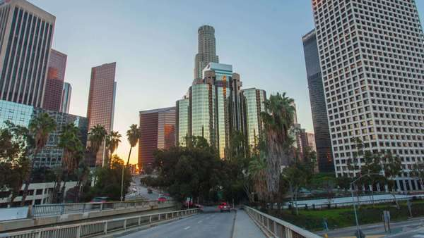 DOWNTOWN, LOS ANGELES, CALIFORNIA, USA - 07 JANUARY 2015,Hyperlapse Video View On Sunrise Over Downtown Los Angeles. Royalty-free stock video