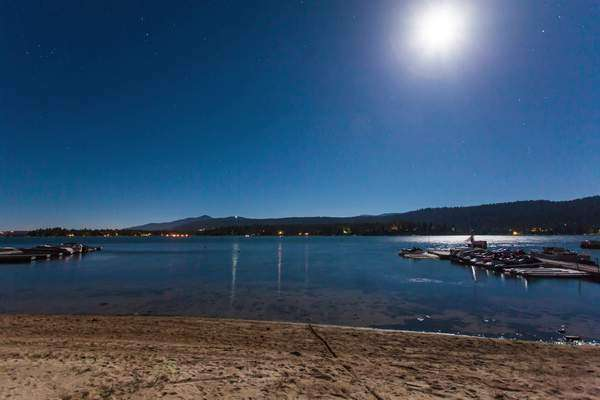 Hyperlapse of Big Bear Lake beach, California at night Rights-managed stock video