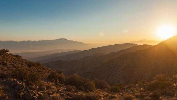 Hyperlapse of mountains at sunset in Joshua Tree National Park, USA Rights-managed stock video