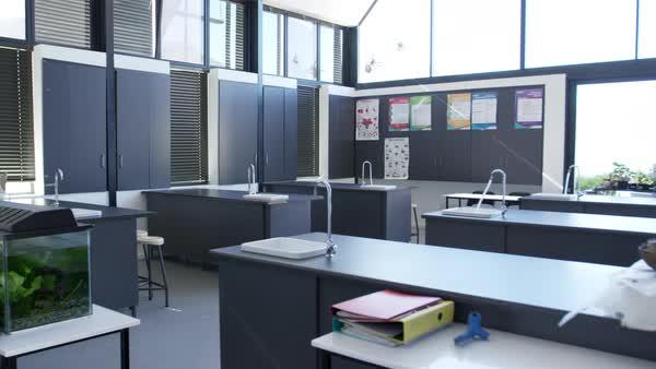 Modern science classroom in a high school D430_48_959