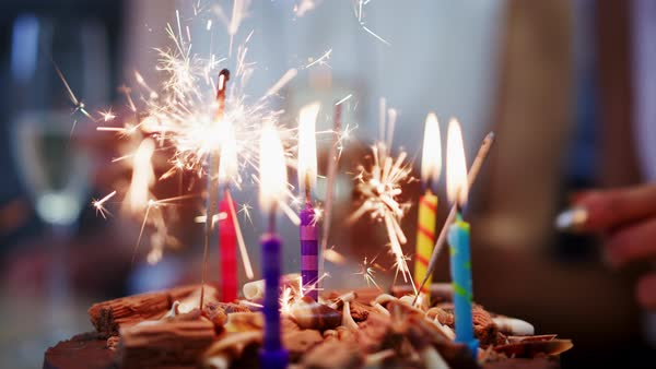 Birthday Cake With Sparkler And Burning Candles Close Up