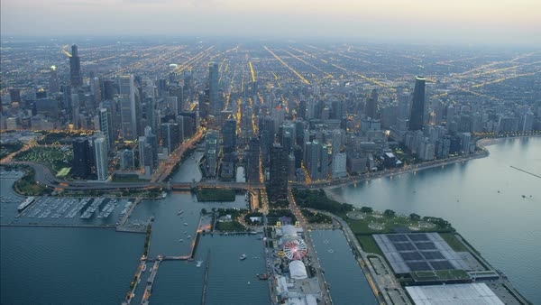 Aerial Illuminated Sunset View Of Lake Michigan Navy Pier