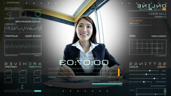 Portrait of attractive Asian Chinese business female using online video  call streaming communications technology in boardroom stock footage