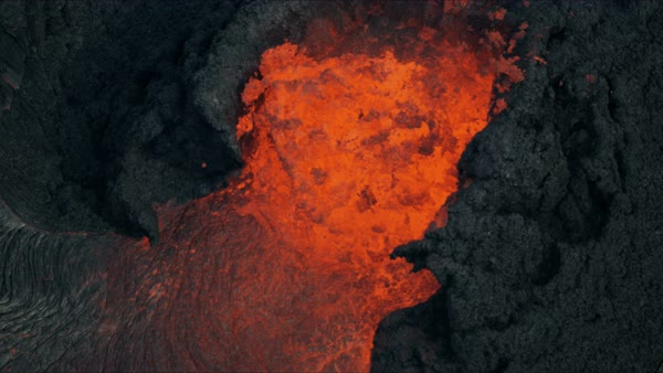 Aerial 2018 view of boiling exploding magma a powerful active volcanic  event erupting red hot lava from within the earths crust stock footage