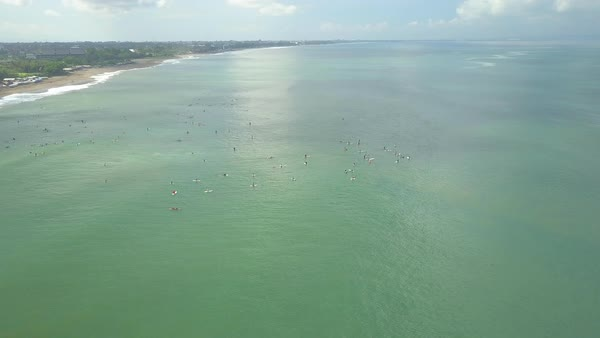 Aerial Flying Above Crowded Surfspot And Canggu Village On Beach D519 90 080
