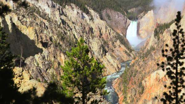Grand Canyon of the Yellowstone, Artists Point. Waterfall with high quality audio included, dolly shot. Royalty-free stock video