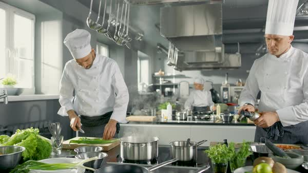 Two Chefs Work as a Team in a Big Restaurant Kitchen. Vegetables and Ingredients are Everywhrere, Kitchen Looks Modern with Lots of Stainless Steel. Royalty-free stock video