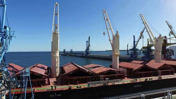 Aerial drone shot of big ship in cargo harbor Royalty-free stock video