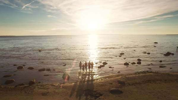 Aerial drone shot of group of people running into water at sunset. Royalty-free stock video