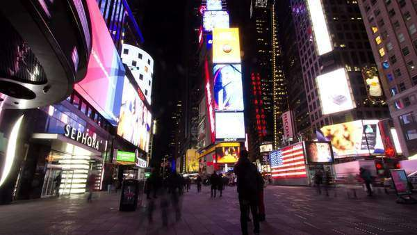 Hyperlapse shot of Times Square at night Royalty-free stock video