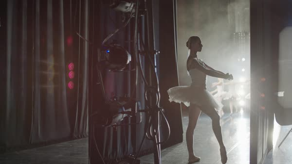 Medium panning shot of ballerina waiting backstage Rights-managed stock video