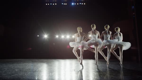 Wide slow motion panning shot of ballerinas dancing Rights-managed stock video