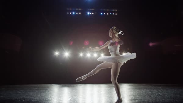 Wide slow motion panning shot of ballerina spinning on stage Rights-managed stock video