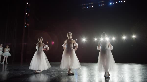 Wide slow motion panning shot of ballerinas dancing on stage Rights-managed stock video