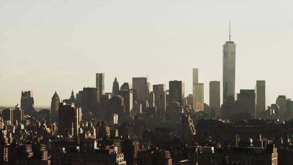 Wide shot of cityscape / New York City, New York, United States Royalty-free stock video