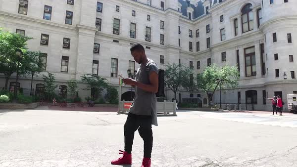 Full shot of a man standing at Philadelphia City Hall, PA, USA Royalty-free stock video