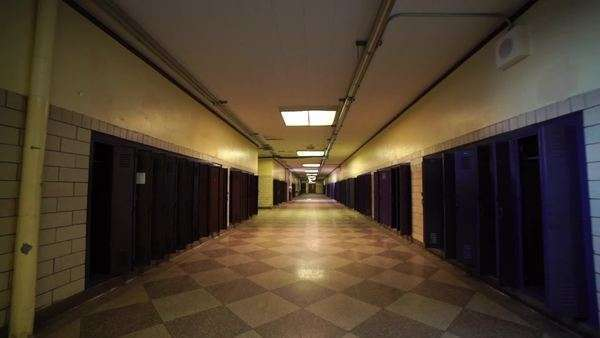 Moving Through Empty High School Hallway Stock Video Footage