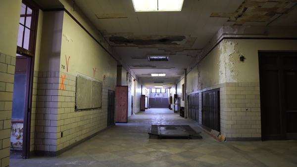 Abandoned and destroyed school hallway Rights-managed stock video