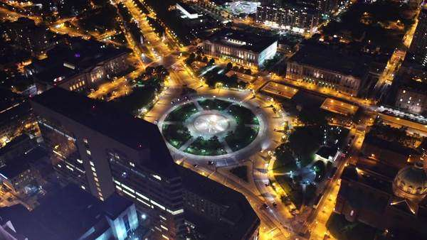Aerial view of Philadelphia Logan Circle Rights-managed stock video