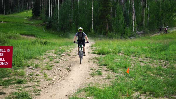 Wide shot of three mountain bikers Royalty-free stock video