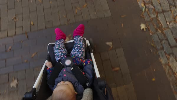 Point-of-view shot of a person pushing a stroller Royalty-free stock video