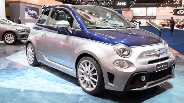 Fiat 500 Abarth 695 Rivale Compact Sports Hatchback Car On Display During The 2017 European Motor Show Brussels Stock Footage