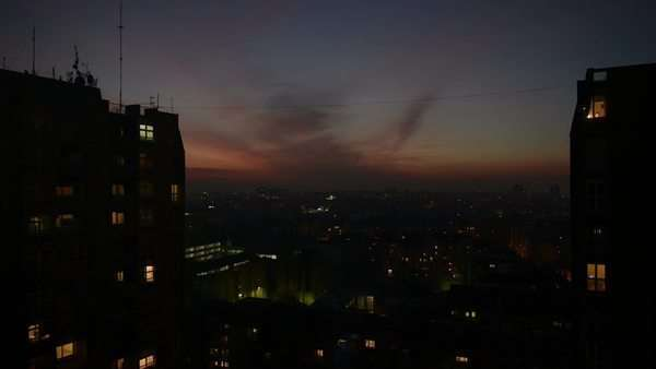Static shot of sunset timelapse over city buildings Royalty-free stock video