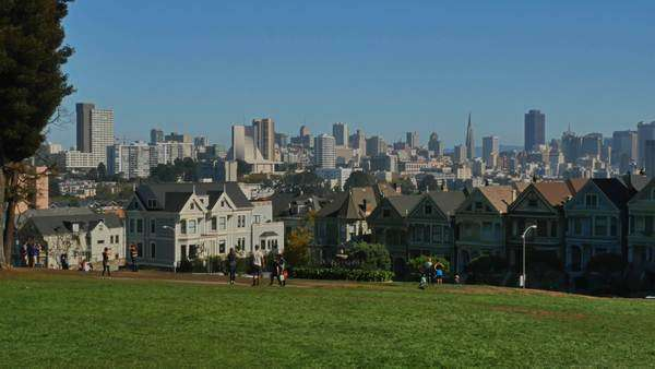 SAN FRANCISCO - October, 2015 - A daytime establishing shot of the Painted Ladies Victorian-style homes with the San Francisco skyline in the background. Royalty-free stock video