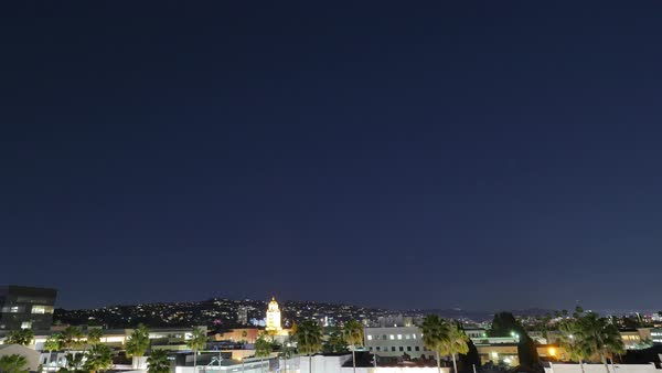 BEVERLY HILLS, CA - Circa February, 2016: A nighttime timelapse of the city of Beverly Hills.  	 Royalty-free stock video