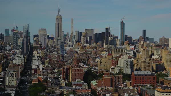 A summer day to dusk timelapse of the Midtown Manhattan skyline.  	 Royalty-free stock video