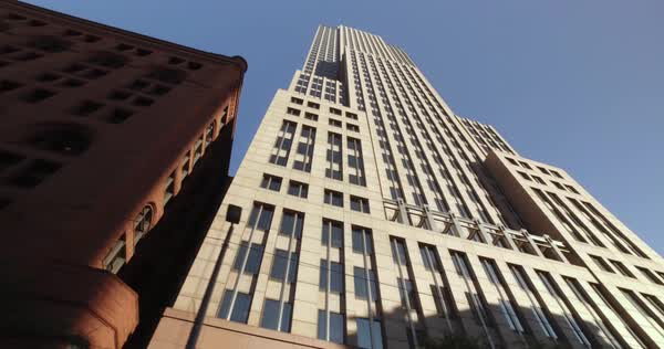 Looking up at the tall Key Tower Building in downtown Cleveland, Ohio.  	 Royalty-free stock video