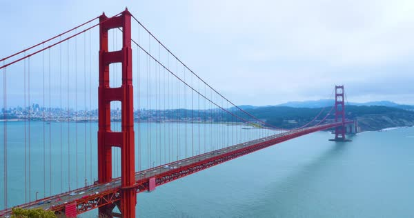 A static establishing shot of the Golden Gate Bridge on a foggy overcast day with the city in the distance. Royalty-free stock video