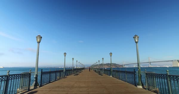 A daytime walking POV on Pier 7 on the San Francisco Bay. Royalty-free stock video