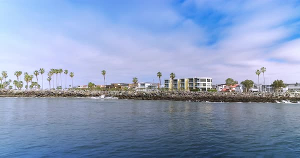 A profile perspective of Mission Point Park in San Diego as seen from San Diego Bay.  	 Royalty-free stock video