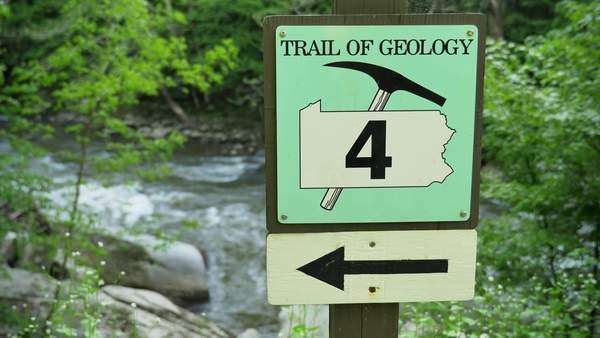 A geology sign in McConnell's Mill State Park in Western Pennsylvania, about 50 miles north of Pittsburgh, PA. Royalty-free stock video