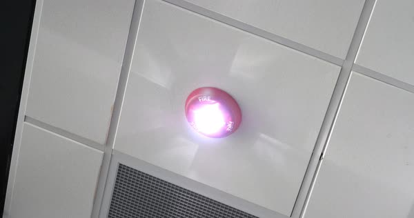 A close up shot of a fire alarm warning light on the ceiling of an office, airport, or other commercial building.   Royalty-free stock video