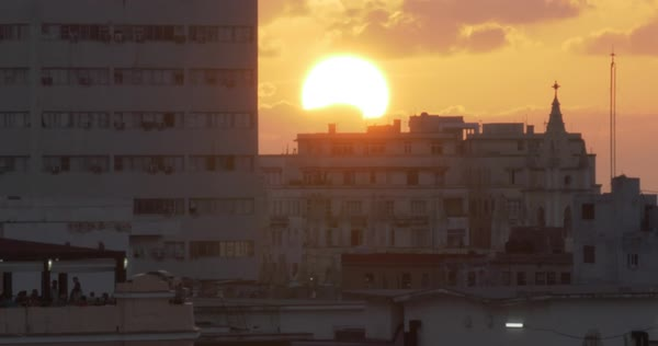 A close up shot of the sun setting over Havana, Cuba. Royalty-free stock video