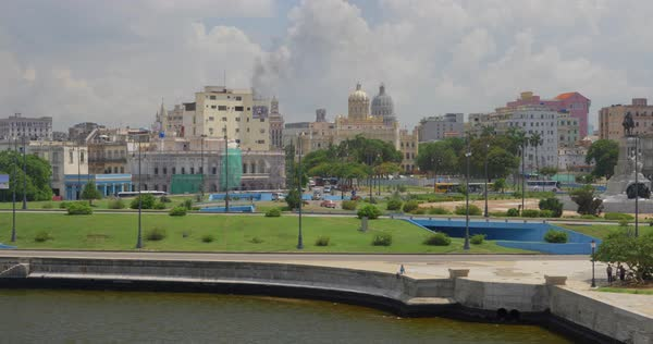 A high angle day wide dolly establishing shot of the shoreline of Havana, Cuba Royalty-free stock video