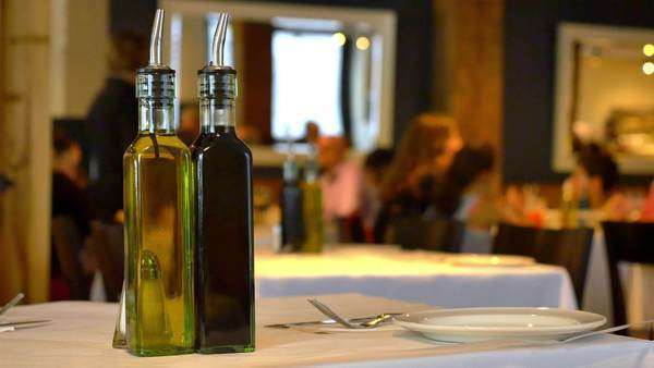 Two bottles on a table at an Italian restaurant. Royalty-free stock video