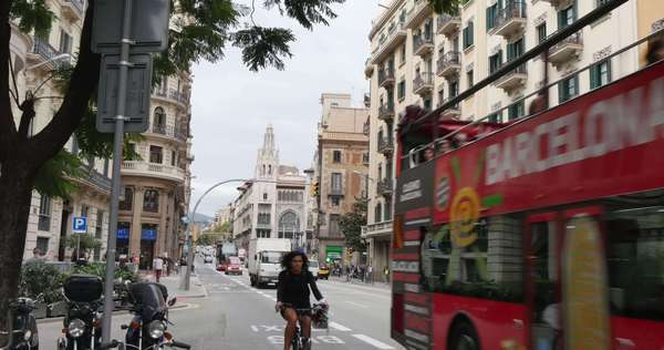 BARCELONA, CATALONIA, SPAIN - Circa October, 2014 - Traffic passes by on the streets of Barcelona, Spain. Royalty-free stock video
