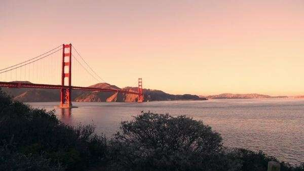 Golden Gate Bridge in San Francisco during a sunset Royalty-free stock video