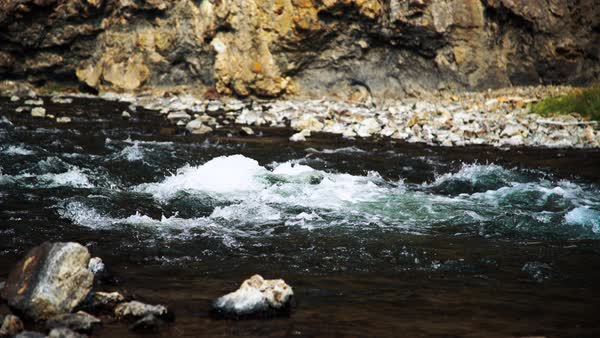 Medium shot of a rushing river in Wyoming, USA Royalty-free stock video