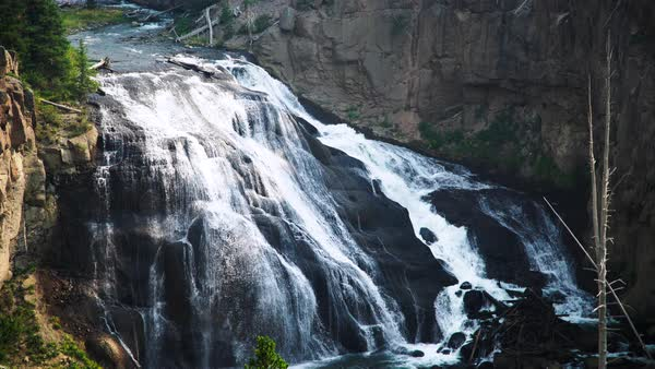 Wide shot of a waterfall in Wyoming, USA Royalty-free stock video