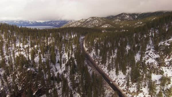 Lake Tahoe Winter Highway Aerial Rights-managed stock video